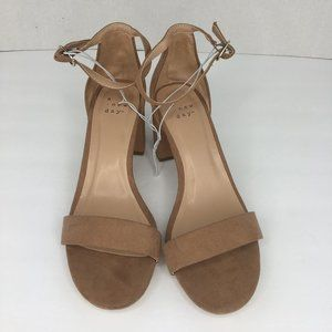 Taupe ankle strap 2 inch heels